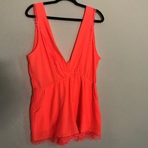 San Joy Neon Orange Romper Sz L